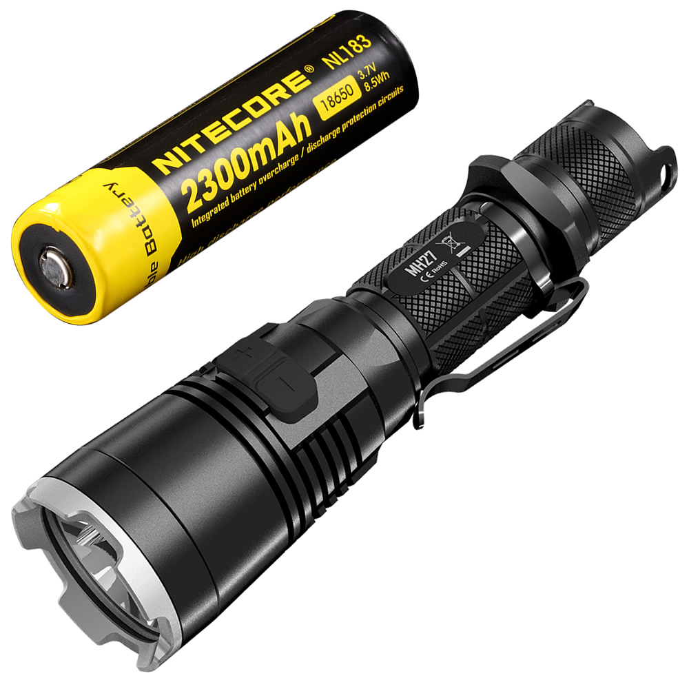 NITECORE MH27 USB Rechargeable Flashlight CREE XP-L HI V3 1000LM RGB LED High Bright Torch+2300mAh 18650 Battery+Free shipping new nitecore 1000lm xp l hi led white light with rechargeable battery gear outdoor search r40 flashlight hand lamp free shipping