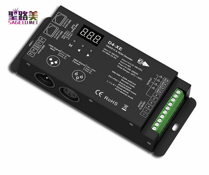 D4-XE 4CH PWM Constant Voltage CV DMX512 RDM LED Decoder Controller With Digital Display XLR3 RJ45 DC12V 24V 36V Input 8A*4CH