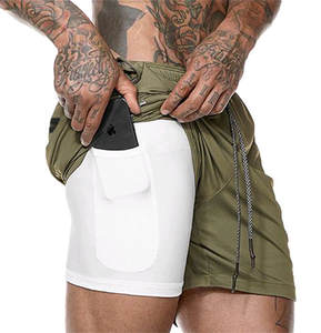 Double-deck With Built-in Pocket Liner Camo Shorts 2019 Mens Fitness Bodybuilding Breathable Quick Drying Gyms Men Casual Shorts