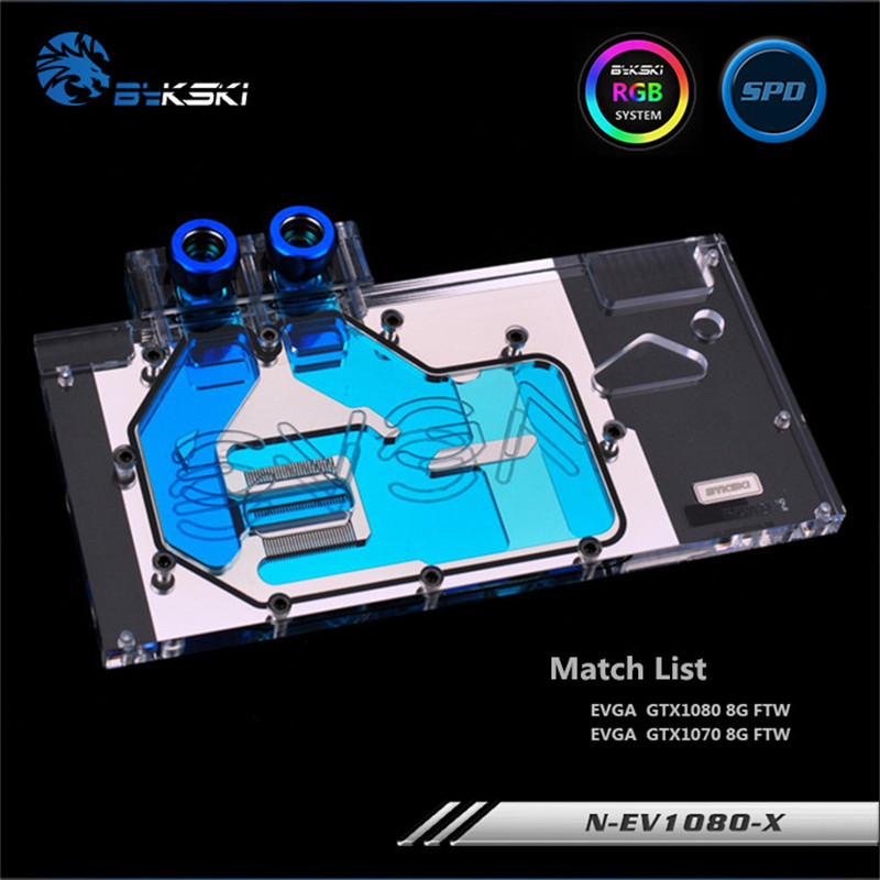Bykski Full Coverage GPU Water Block For EVGA GTX1080 GTX1070 FTW Graphics Card N-EV1080-X ftw f7