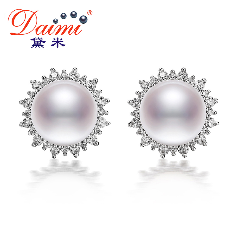 где купить DAIMI 9-9.5mm Natural White Freshwater Pearl Earrings 925 Silver Pearl Big Earrings Luxury Style For women christmas gifts дешево
