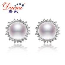 DAIMI 9-9.5mm Blanco Natural Perlas de Agua Dulce Pendientes de Perlas de Plata 925 Pendientes Grandes de Lujo Estilo de navidad Para la mujer regalos