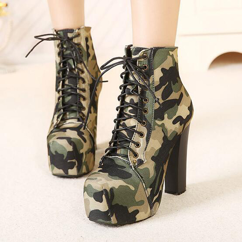 ФОТО Army Camouflage Ankle Boots Square Straps High Heel Shoes Waterproof Boots Motocycle Short Boots