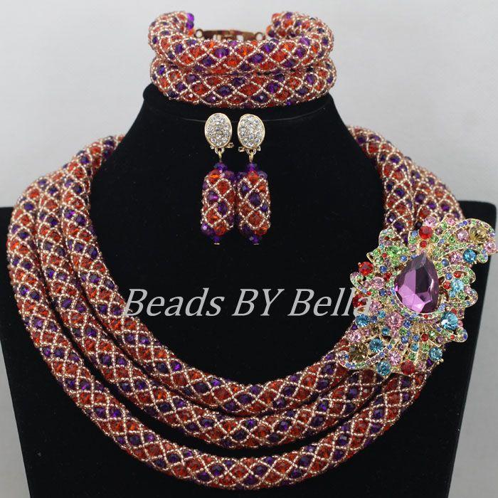 2017 New African Costume Nigerian Wedding Beads Jewelry Sets Gold Purple Orange Crystal Beads Jewelry Sets Free Shipping ABF5352017 New African Costume Nigerian Wedding Beads Jewelry Sets Gold Purple Orange Crystal Beads Jewelry Sets Free Shipping ABF535