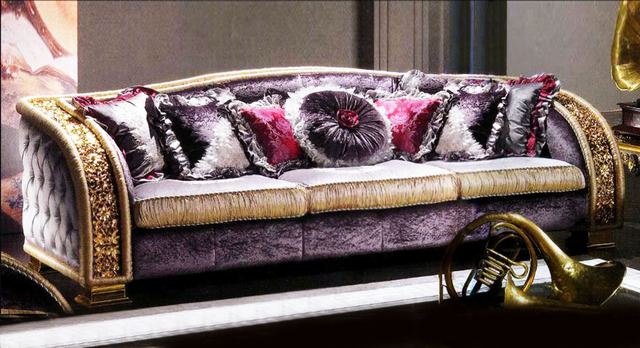 Beautiful European Style Luxury Decorative Purple 3 Seater Sofa Top Quality Sofa