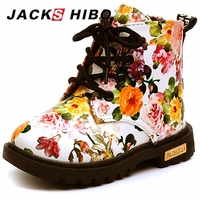 JACKSHIBO Kids Boots Winter Shoes Flower Printing For Girl Plush Boots Girl Ankle Martin Shoes Zipper