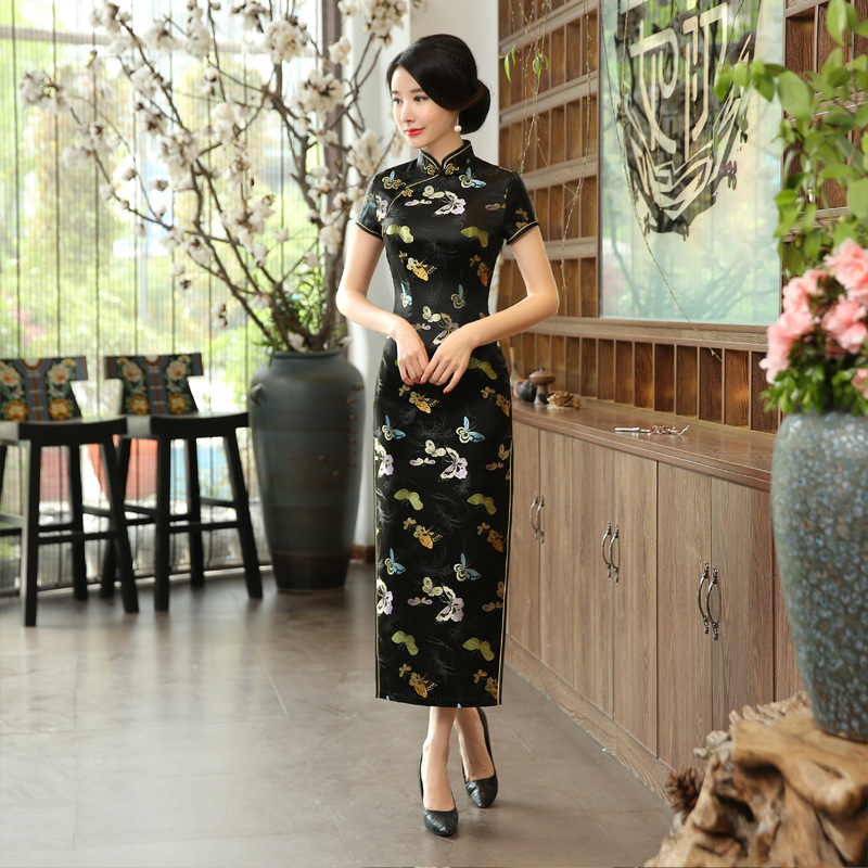 Chinese Traditional Cheongsam Womens Silk Satin Dress Black Ball Gown Size: S To 3XL