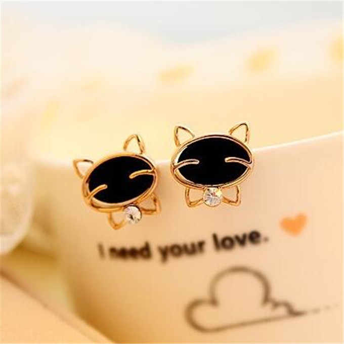 Di Modo caldo di Vendita Orecchini di cristallo dei monili Bella Orecchini di Strass Gatto Cute Cat Orecchini con perno Per Le Donne Ragazze Regalo