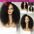 Afro Kinky Curly Wig 180 Density Thick Hair Wigs Factory Price Curly Synthetic Lace Front Wig With Baby Hair Different Layers