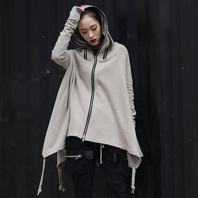 Hoodies Sweatshirts Women Avantgarde Irregular Hem Design 100% Cotton Long Sleeves Zipper Casual Loose Top New Fashion 2018