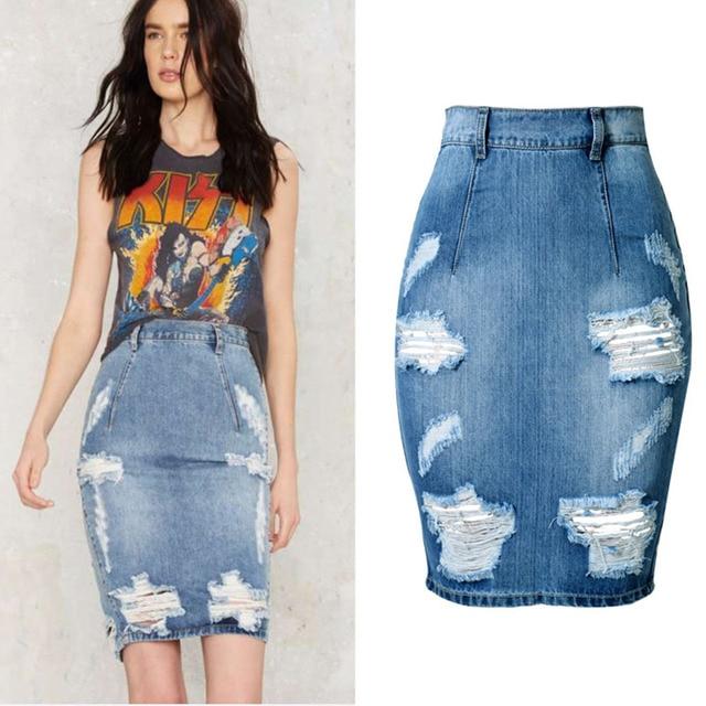 c98e7b013d 2018 Summer Mini Denim Skirt Split Jeans Pencil Skirts Sexy Tight Skinny  High Waist Zip Ripped Hole Women 40 42