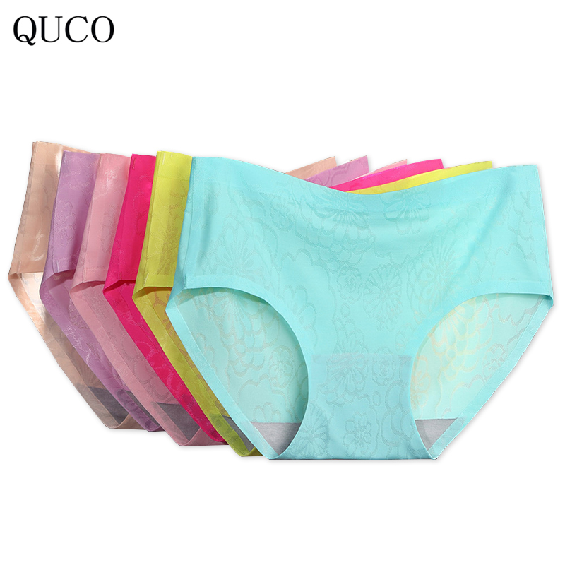 QUCO Brand 6pcs/lot Fashion Quality Women Panties Transparent Underwear Women Lace Soft Briefs Sexy Lingerie women underwar W0 ...