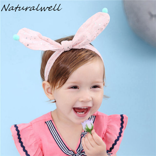 Naturalwell Little Girls Knot Bow Headband Newborns Twist top Knot headbands  Bunny Ears headband Top knot elastic bandage HB133 44941e27fc6