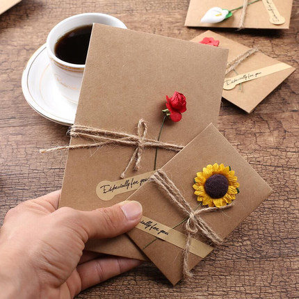 17.4 x 11cm DIY Floral Greeting Cards Word Message Wishes Cards Kids Gift DIY Craft Color Cards Birthday Wedding Invitatio Cards
