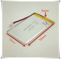 XHR-2P סוללת ליתיום פולימר 505070 3.7 V 2.54 2800 mAh טלפון נייד צעצוע GPS מכונה הוראת 505068