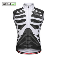 WOSAVE Men Women Cycling Jersry Sleeveless Skeleton Cycling Vests Reflective Cycling Safety Vest Breathable Quick dry Male Tops
