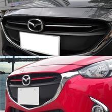 ABS chrome Front grille decoration cover trim stickers case for Mazda 2 Demio 2015 2016 2017 DJ DL Mazda2 Hatchback accessories
