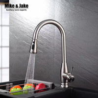 Free shipping SUS 304 Stainless Steel Pull Out Spring brushed Kitchen Faucet,Deck Mounted Spray Kitchen Mixer Tap