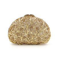 BL009 Tree Branch Rhinestone Luxury Crystal Lady Evening Bag Studded Diamante Gold Party Purse Pochette Banquet Clutch Bag