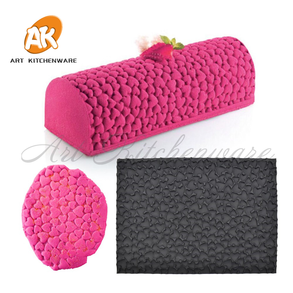 Silicone Mat Heart Texture Mat for Mousse Stencil Cake Decoration Mousse Mat Bakeware Cake Tools Baking Mold Fondant Mat MCT-05