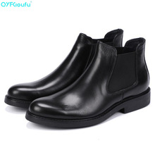 купить Black Genuine Leather Men Martin Boots Slip-On Round Toe Chelsea Boots Genuine Leather Breathable Ankle Boots Shoes дешево