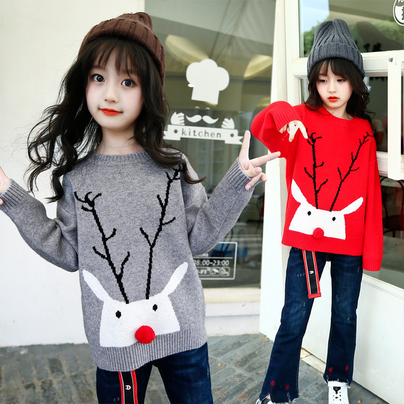 2018 Autumn Winter New Girls Cartoon Christmas Deer Sweater Children New Year Clothing Kids Cotton Pullover Baby Costumes christmas knitted sweater cardigan for girls autumn winter winter kids pullover deer clothing children sweater 10 years 12 14 page 2