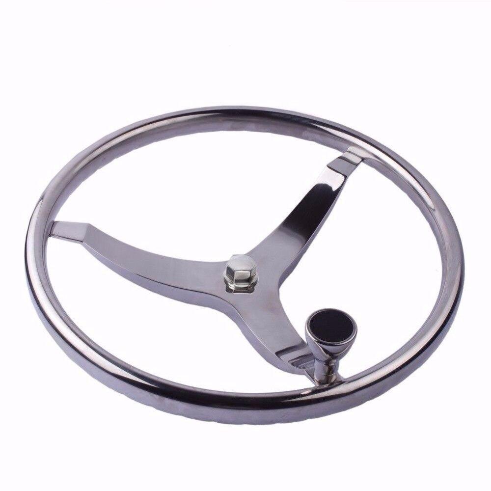13 1 2 Stainless Steel Steering Wheel 3 Spoke Knurling for Marine Boat Yacht with PowerKnob