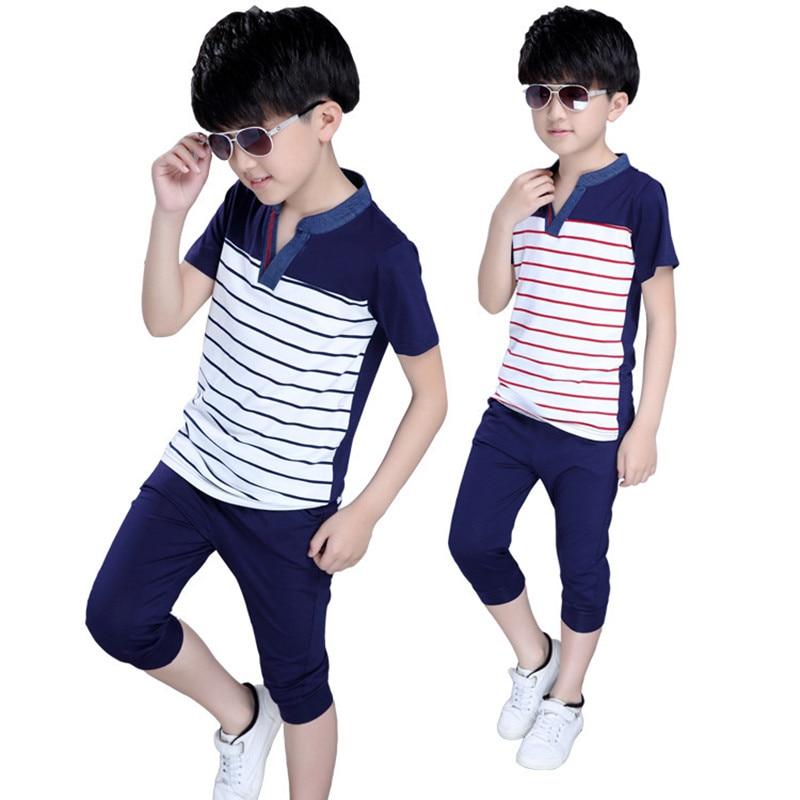 2019 Vasaras zēna sporta izdruka Stripe drēbju komplekti Kokvilnas modes īsās piedurknes + bikses 2 gab.