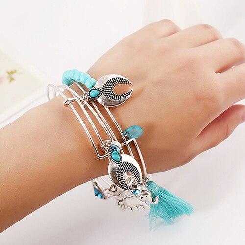 2018 Women Elephant Tassels Infinity Bangle Hamsa Fatima Hand Cuff Bracelet