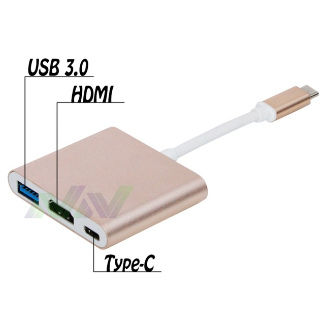USB3.1 type-c male to HDMI  Female Adapter 3 in 1 Converter Adapter for New Macbook Google Chromebook Pixel