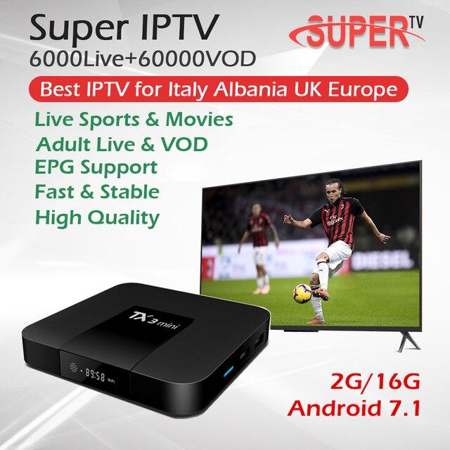 TX3mini Android TV Box 2G/16G Italy IPTV UK Germany Belgium Albania IPTV Subscription Mediaset Premium Hotclub DAZN Set Top Box