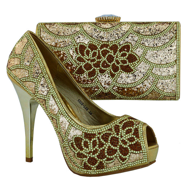1308 L68 African Women High Heel Shoes And Clutch Bags Fashion Rhinestones  Italian Leather Shoes And Bag Matching Set Size 38 42-in Women s Pumps from  Shoes ... 1ca3d9e6b16e