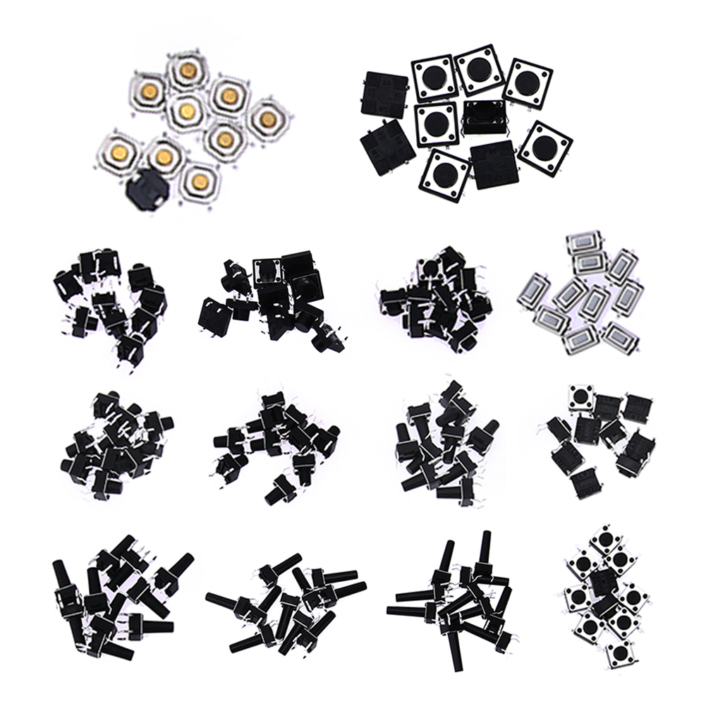 140pcs 14 Type Momentary Tact Tactile Push Button Switch SMD Assortment Kit 50pcs lot 6x6x7mm 4pin g92 tactile tact push button micro switch direct self reset dip top copper free shipping russia