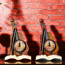 Creative Resin books violin Desk Clock Household adornment furnishing articles Home Decoration
