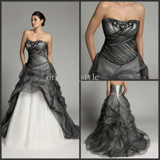Wholesale Christmas Strapless Black White Color Accented Bridal ...
