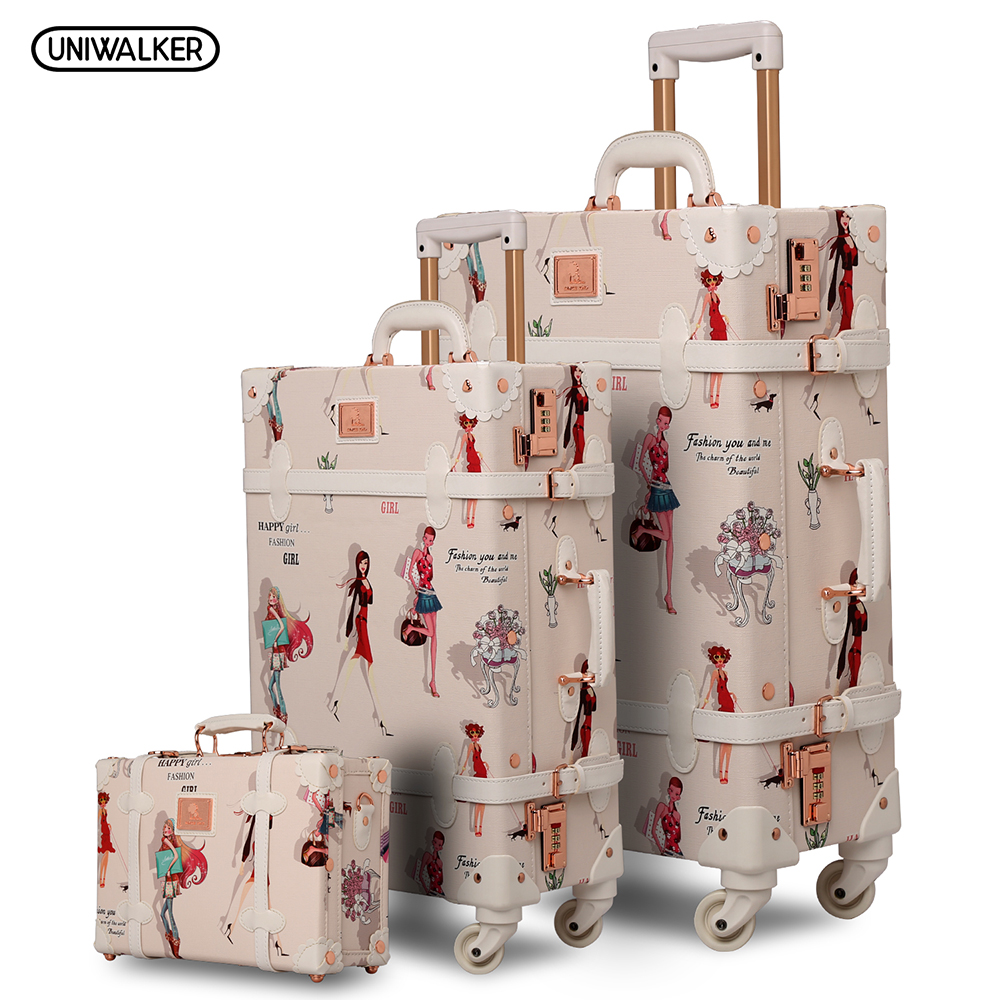 12 20 26 3PCS set Fashion Girl Retro Rolling Luggage Bagages Pu Suitcase Trunk Vintage Luggages With Spinner Wheels for Women