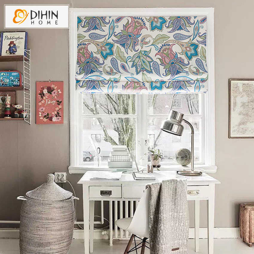 DIHIN HOME 3 Colors Fashion Printed Curtain Included Curtains High Quality Thickening Roman Blind Rollor Blinds For Living Room