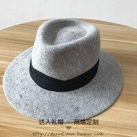Wol, gemengde donkergrijs harten jazz cap hoed hoeden voor mannen en vrouwen dubbele metalen logo