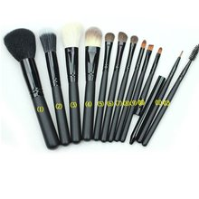 купить 12 Pcs Black Nylon Hair Makeup Brush High-grade Wool + PU Tube Elegant Eye Shadow Brush Blush Eyeliner Brush Set дешево