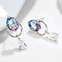 925 Sterling Silver Crystal Drop Earrings for Women Fine jewelry Christmas earrings Gift Wedding Jewelry