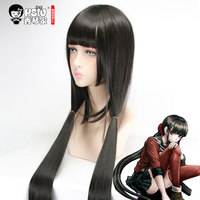 HSIU Harukawa Maki Cosplay Wig NewDanganronpaV3 Costume Play Wigs Black Long Straight Wig Halloween Costumes Hair