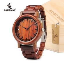 BOBO EM.17 PÁJARO Reloj Ligero de madera de Sándalo Rojo Hecho A Mano Reloj de Cuarzo Para Los Hombres Con la Caja de Regalo en Dropshipping