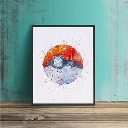 Pokemon Ball Watercolor Nursery Wall Art Prints Poke Ball Canvas Poster Painting Pocket Monsters Picture Kids Room Wall Decor