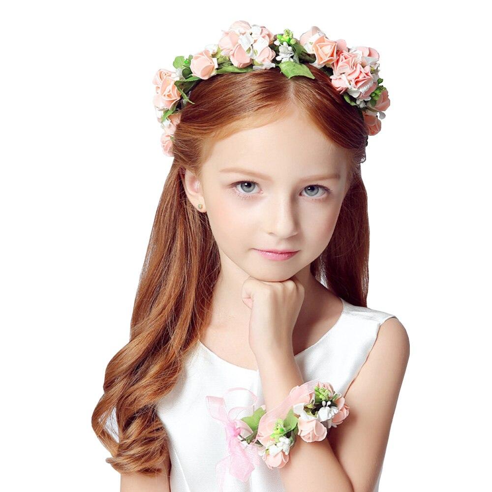 2Set Stylish Girls Flower Garland Boho Floral Headwear Headband Flower  Wreath Crown Garland Hair Accessory And Wristband HG0175-in Artificial    Dried ... 1a6019b2df3