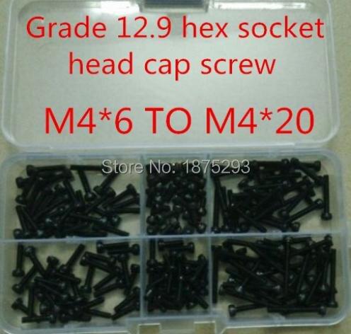 120PCS Alloy Steel DIN912 M4*6 TO M4*20 Black Hex Socket Cap Screw Accessories Kit 20pcs m3 6 m3 x 6mm aluminum anodized hex socket button head screw