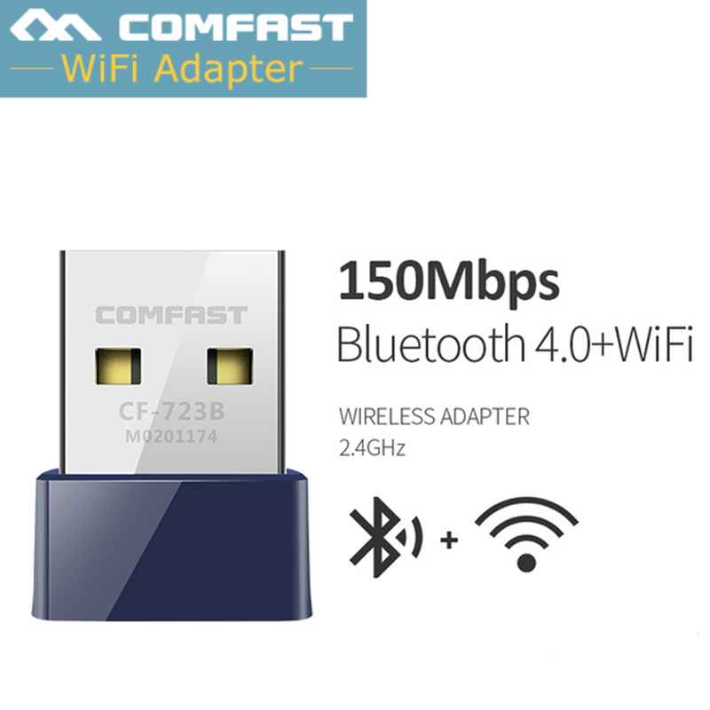Comfast CF-723B Mini USB 2.0 150Mbps Wireless Wifi Adapter Dongle Receiver Network LAN Card PC Bluetooth 4.0 Receive&Transmit
