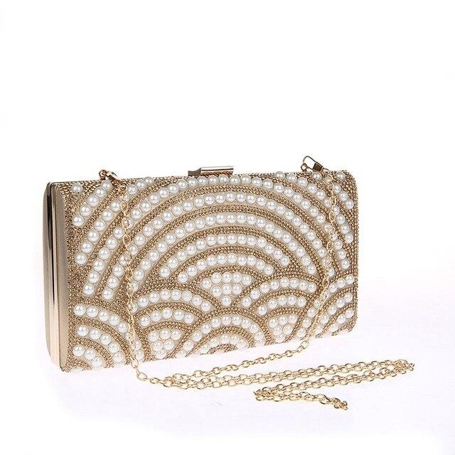 Minaudiere Gold Chain 2017 New Fashion Ladies Rhinestones Delicate Beaded Party Wedding Handbags Woman Evening Bag Smycwl-e0003