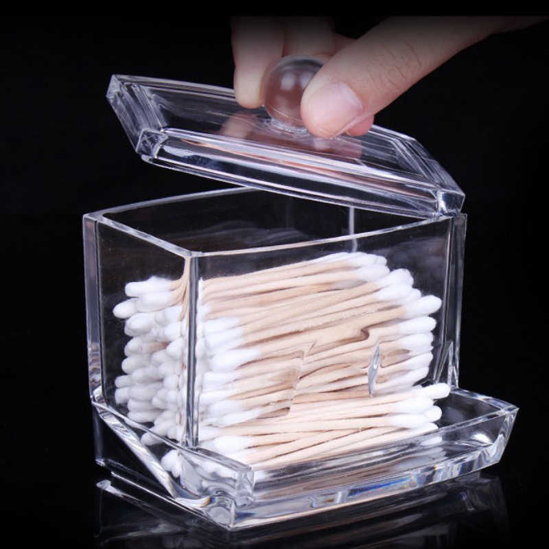 New 1pc/lot Clear Acrylic Q-tip Holder Box  Good Quality Transparent Cotton Swabs Stick Storage Cosmetic Makeup Case