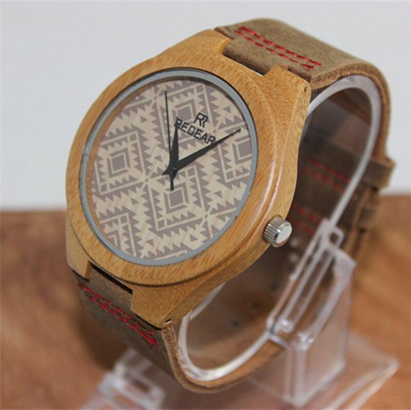 Bamboo Wooden Fashion Casual Lovers Women Man Wristwatch Leather strap Analog Display Quartz Watch Masculino Feminino