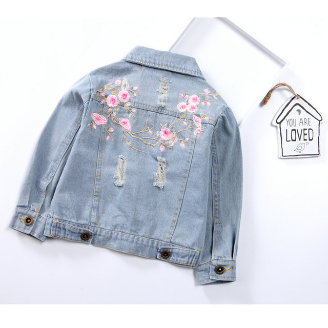 Girls Jackets Hole Cowboy Style Teens Outerwear embroidery Fashion Girls Jackets Coats Children's Clothing Kids Jean Jacket 4